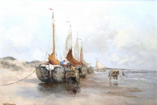 Willem George Frederik Jansen (Dutch, 1871-1949) Fishing boats on the beach,