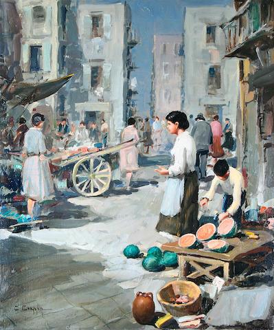 Italian mid 20th century A street market in Naples,