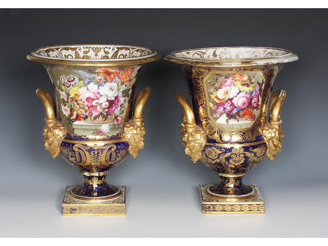 A matched pair of large Derby vases Circa 1820.