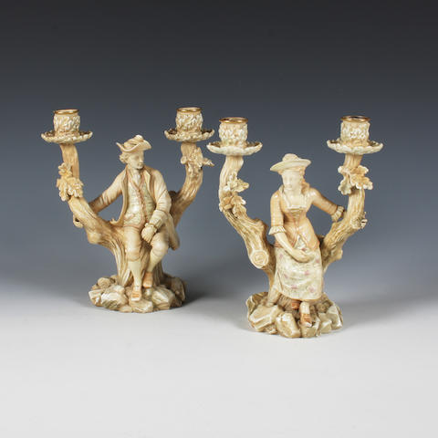 A pair of Royal Worcester twin branch candelabra Circa 1885.