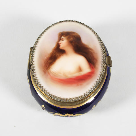 A Dresden oval box Late 19th Century.