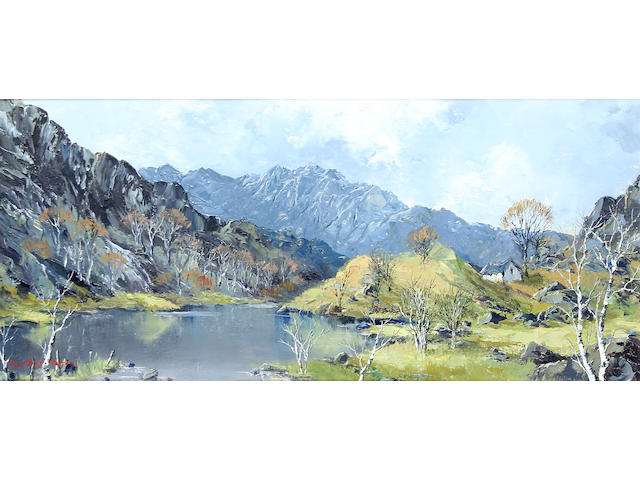 "Charles Wyatt Warren (British, 1908-1983) ""Llyn Gwynant and Snowdon"","