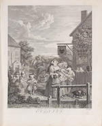 "William Hogarth (British, 1697-1764) The Four Times of the Day Engravings, 1738, various later states, on laid, 490 x 395mm (19 1/4 x 15 1/2in)(PL), together with the complete set of 'The Hudribas' P82-92), also P192, 192/1 and 193 and two further engravings after Hogarth, 'Pool of Bethesda' and ""The Good Samaritan' 19 unframed"