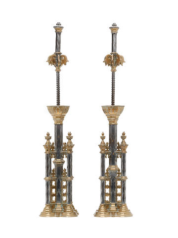 A magnificent pair of Gothic Revival fire dogs A W N Pugin for Abney Hall, Cheadle