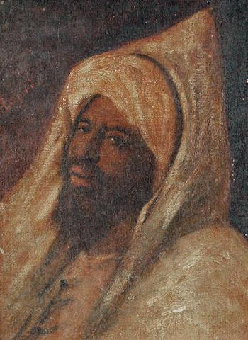 Follower of José  Tapiro y Baro (Spanish, 1830-1913) Head study of an Arab wearing a hooded djellaba
