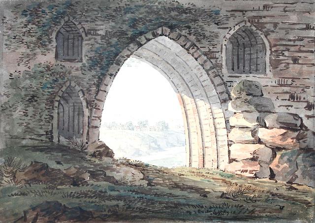 Hugh Grecian Williams (British, 1773-1829) 'Thro' an arch of Caernarvon',
