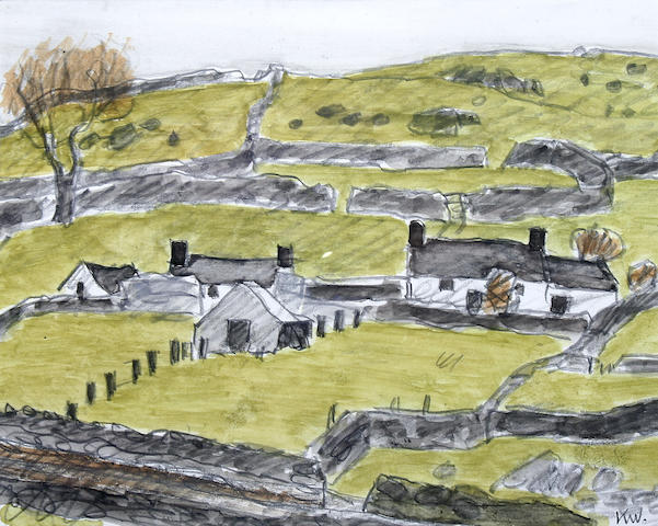 Sir Kyffin Williams, R.A. (British, 1918-2006) Cottages above Rhosgadfan,