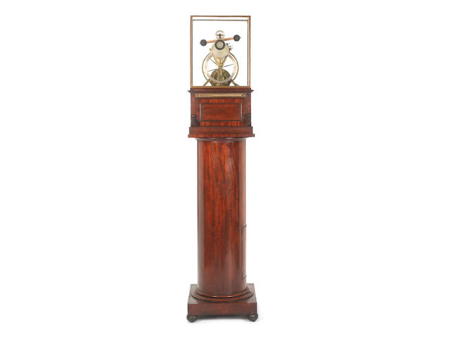 A unique and quite remarkable early 19th century weight driven skeleton clock with complex experimental escapement Invented by James Wright, made for him by the clockmaker George Andrew Jepson in 1826