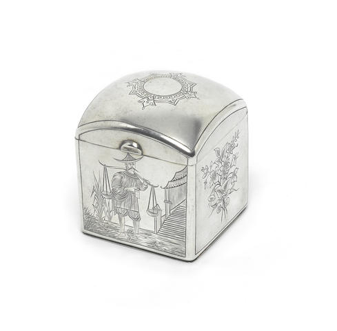 A Russian silver tea caddy, by Lerokozov (?) St. Petersberg,