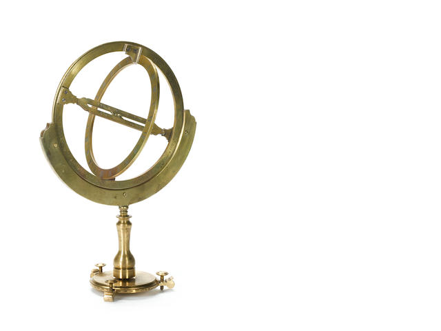 A Benjamin Scott standing brass universal equinoctial ring dial,   English,  early 18th century,