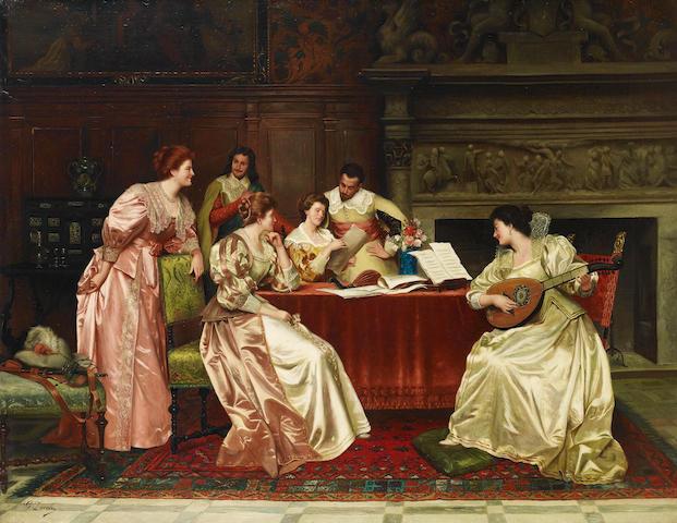 Guglielmo Zocchi (Italian, born 1874) A musical evening