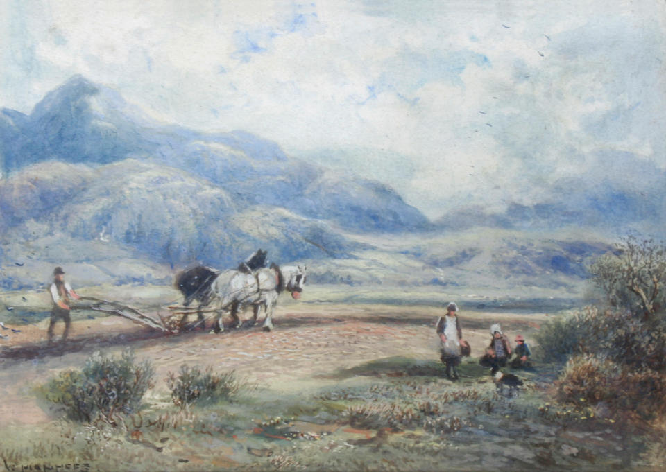 William Manners (British, 1860-1930) 'Ploughing in the Fells, Westmoreland' and 'Blenheim Lake and Park, Oxfordshire', a pair,