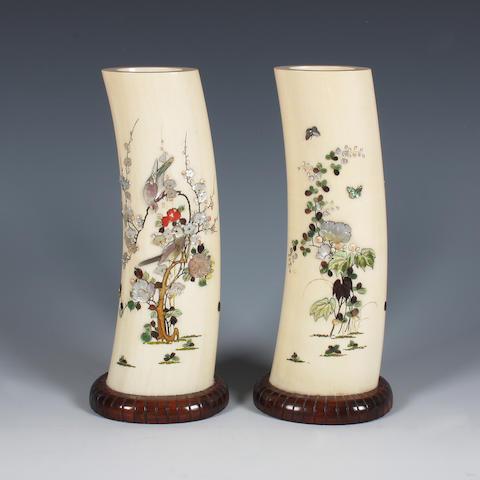A pair of Japanese shibayama and ivory tusk vases Meiji period.