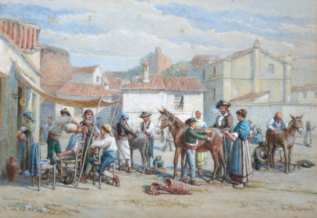 Thomas Robert MacQuoid, R.I. (British, 1820-1912) 'Shaving, Spain',