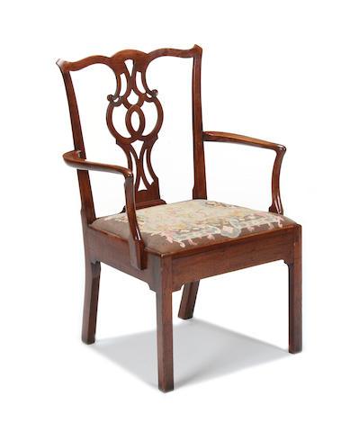 A George III mahogany open armchair,