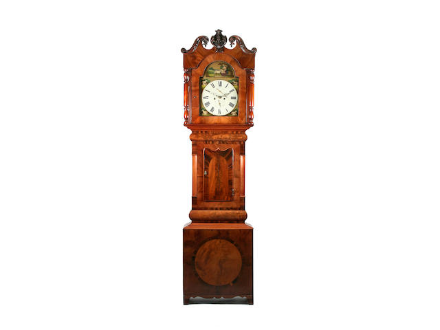 A mid 19th Century mahogany-cased 8-day painted dial longcase clock -   J Charlton, Houghton, circa 1850 sold with two weights, pendulum, key and winder
