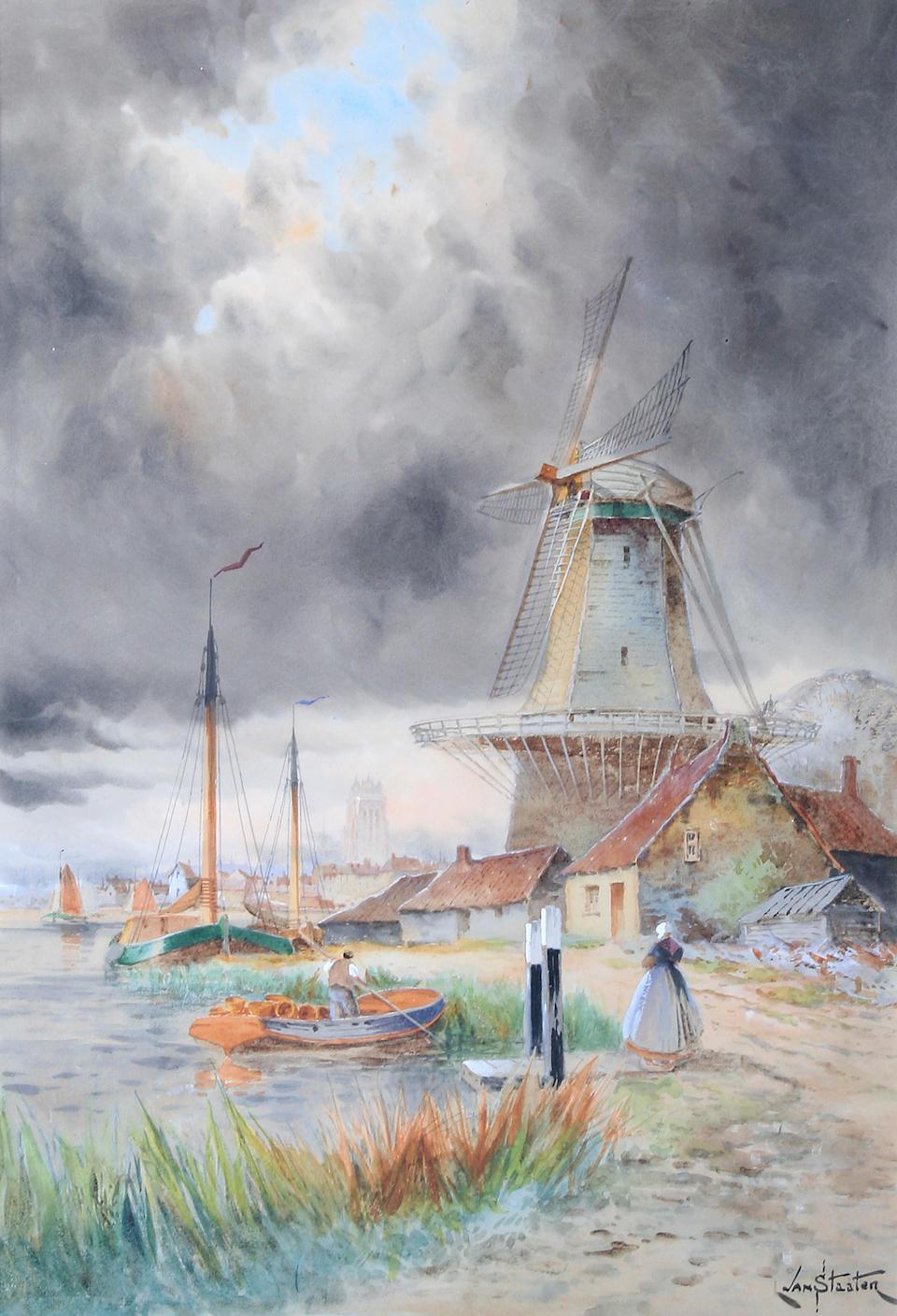 "Louis van Staaten (Dutch, 1836-1909) ""Amsterdam"" and ""Papendrecht"", a pair,"
