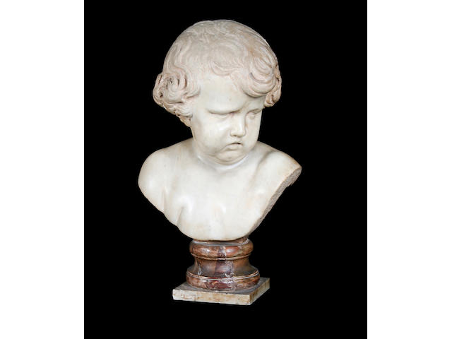 Manner of François Duquesnoy (Flemish, 1597-1643): An 18th century carved marble bust of a putto