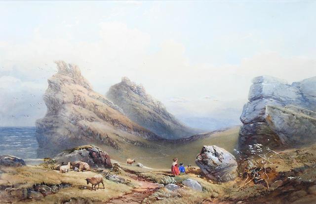 Circle of Thomas Miles Richardson Jnr., R.W.S. (British, 1813-1890) Coastal landscape with two children minding sheep,