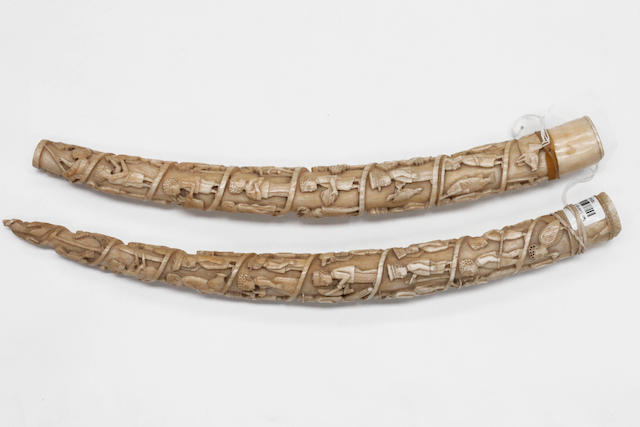 Two interesting Loango ivory tusks 40cm and 43cm long 2