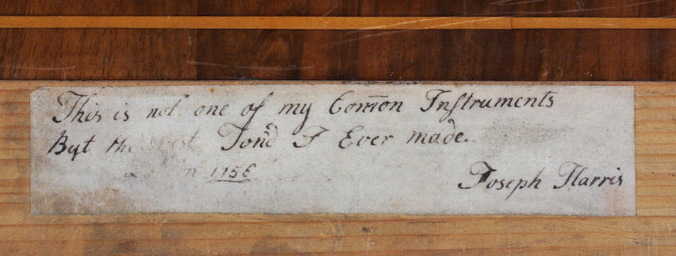 A rare 18th century spinet by Joseph Harris, London, circa 1757, in a line inlaid walnut case