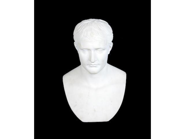 After Lorenzo Bartolini (Italian, 1777-1850): A second half 19th century white marble bust of Napoleon Bonaparte