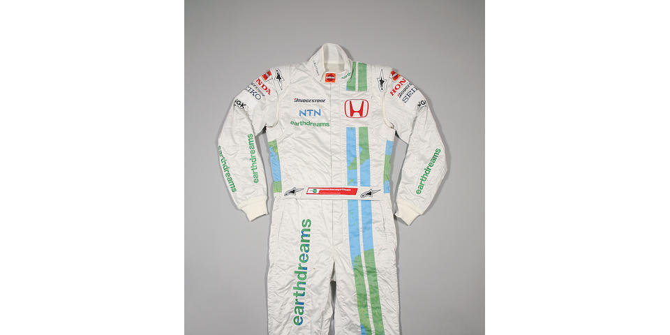 A pair of Jenson Button's Honda 'Earth Dreams' race overalls by Alpinestars, 2008,