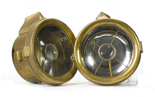 A pair of acetylene lamps,