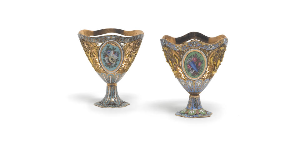 A pair of 19th century Swiss gold and enamelled Turkish market Zarfs, one incuse stamped 3, otherwise unmarked,  (2)