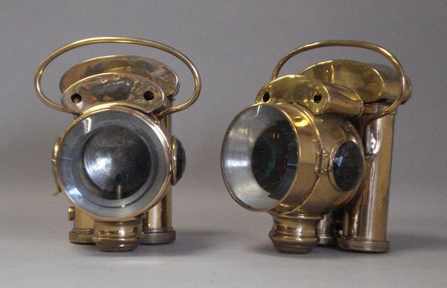 An ornate pair of Miller, Daniels & Walsh 'Duplex' acetylene headlamps, American,