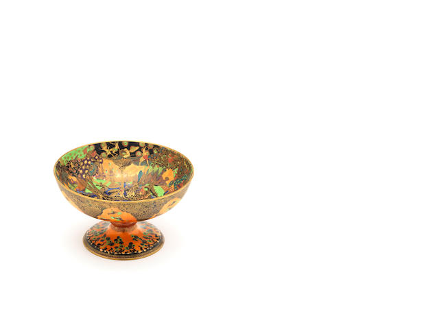 A Wedgwood Fairyland lustre footed bowl (damage to stem)