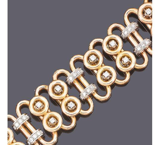 A diamond-set fancy-link bracelet