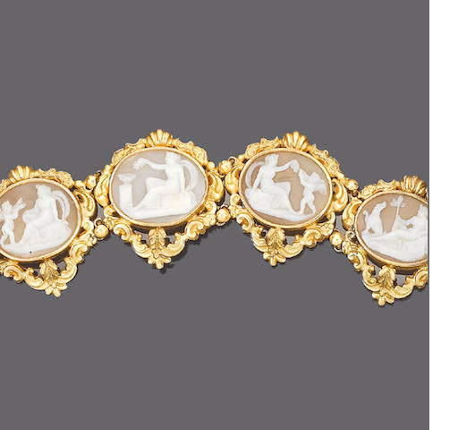 A mid 19th century gold and shell cameo parure (5) (partially illustrated)