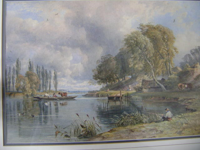 George Arthur Fripp, 1813-1896, Extensive River Landscape, with figures in a ferry boat and fishing, watercolour, signed and dated ?1854,