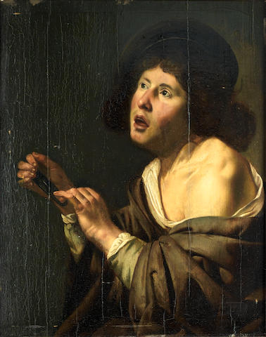 Circle of Jan van Bijlert (Utrecht circa 1597-1671) A man singing and holding a  scacciapensieri