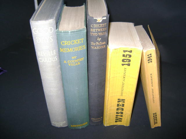 1941 and 1951 Wisden's cricketer almanacks with 3 cricket books