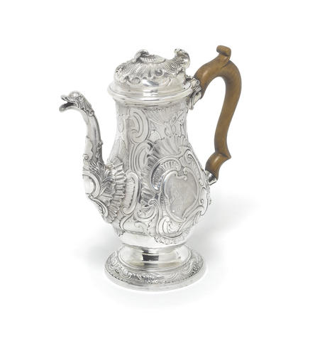 A George II silver coffee pot, by Thomas Whipham & William Williams I, London 1742,