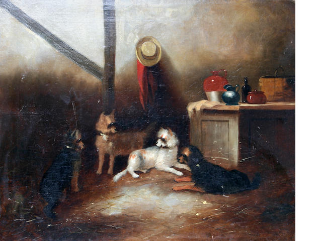 Circle of Edward Armfield (British, 1817-1896) Terriers in a cottage,