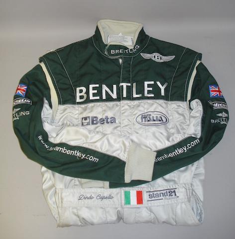 A pair of Dindo Capello Bentley Team racing overalls,