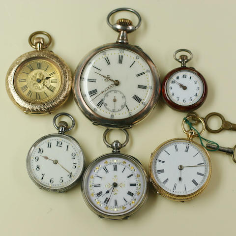 A collection of six assorted fob and pocket watches,  6