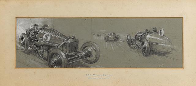 Frederick Gordon Crosby, '200 Mile Race Brooklands 1925',