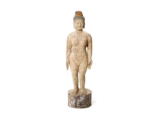 A carved and painted acupuncturist's figure,  probably Indian,  19th century,