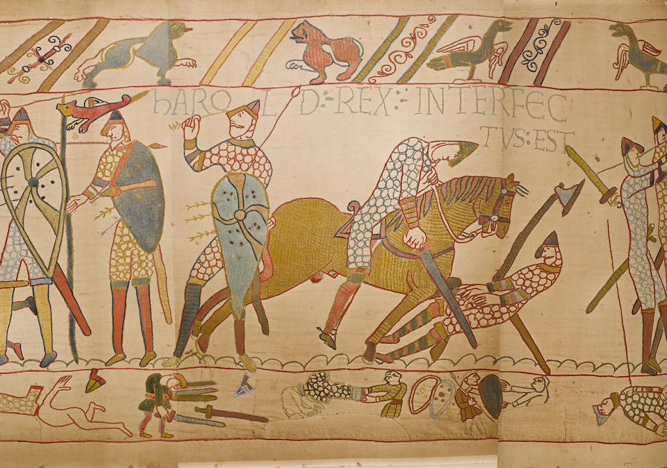 A very rare full size replica of the Bayeux Tapestry photographed by Joseph Cundall 1874