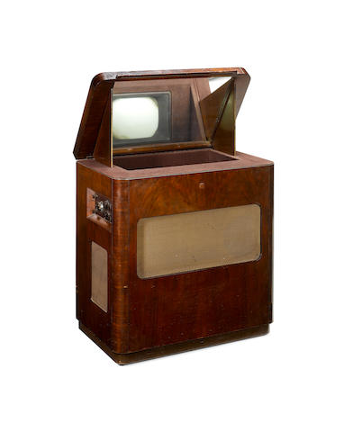 An Ekco mirror-lid type TSC48 television and wireless, 1948,