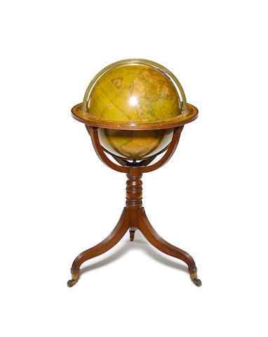 An 18-inch Bardin terrestrial globe on stand, English, early 19th century,
