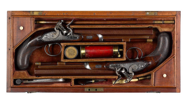 A Very Rare Cased Pair Of 40-Bore Flintlock Duelling Pistols