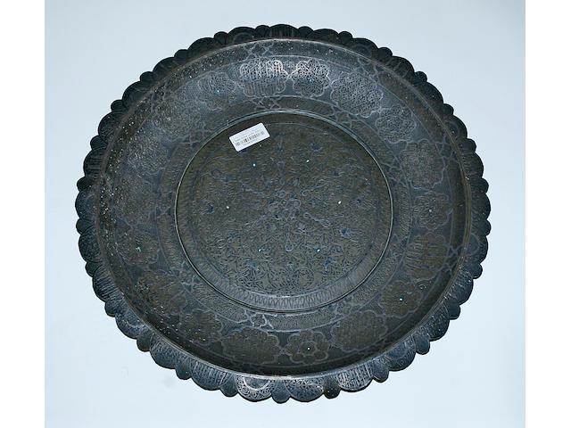A Mamluk Revival circular brass charger,