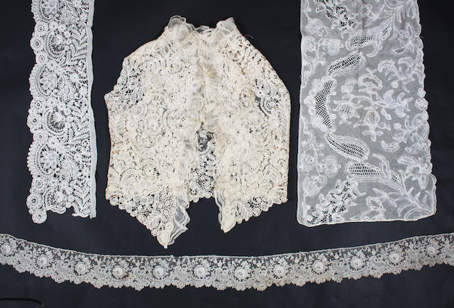 A Brussels Duchesse sleeveless bodice with large Point de Gaze insertions with raised petals