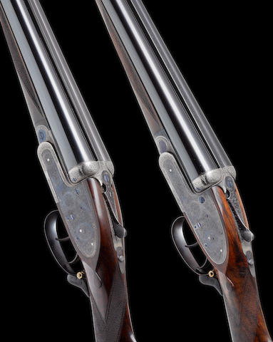 A fine pair of 12-bore self-opening sidelock ejector guns by J. Purdey & Sons, no. 27265/6 In their