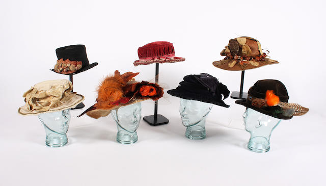 A group of Edwardian/early 19th century hats